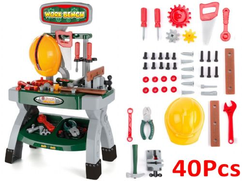 Toyrific Boys Kids Children DIY Role Play Work Bench 40pcs Tools Workshop Gift